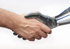 Man and machine handshake